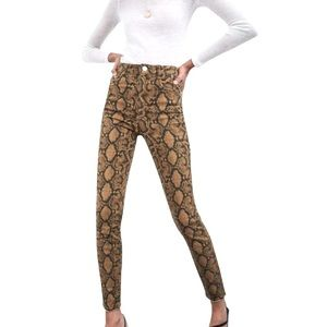 New Zara High Waisted Snake Jeans Size 2 brown